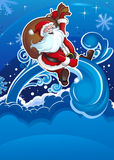 Santa flies on holiday vertical Royalty Free Stock Photography