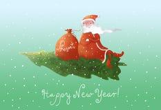 Santa fly Stock Photo