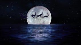 Santa Fly Merry Christmas Moon på vatten 4K arkivfilmer