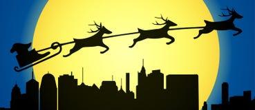 Santa fly over modern city vector Royalty Free Stock Photo