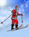 Santa fly on ski Stock Images