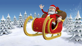 Santa flying across a snow covered landscape stock illustration