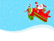 Santa is flying in an airplane background Royalty Free Stock Image