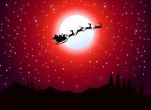 Santa Flying bij Kerstmisnacht Stock Illustratie