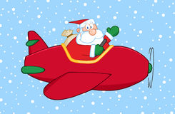 Santa Flying His Christmas Plane. In The Snow Stock Photography