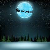Santa flying moon wood Royalty Free Stock Photo