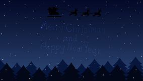 Santa flying through the night sky on forest and text star merry christmas and happy new year. Vector landscape vector illustration