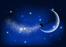 Santa flying through the night sky. Silhouette of Santa Claus flying through the night sky against the moon Stock Photos