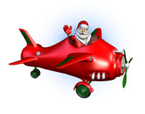 Santa Flying a Plane 2. 3D render of Santa Claus flying a plane - side view Stock Photography