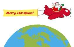 Santa flying a plane banner over the globe. Santa flying with christmas plane above the globe Stock Image