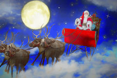 Santa flying through the sky. Illustration of Santa Claus flying through the sky past the full moon in his sleigh guided by reindeer stock images