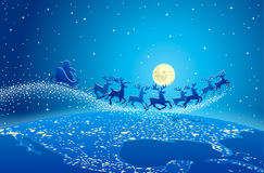 Santa flying in the sky  Royalty Free Stock Images