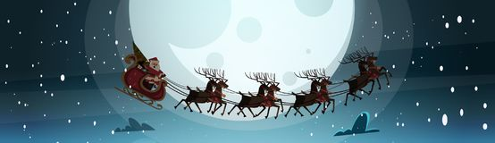 Santa Flying In Sledge With Reindeers In Night Sky Over Moon, Merry Christmas And Happy New Year Banner Winter Holidays Stock Photos