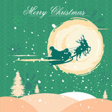 Santa flying in sleigh for Merry Christmas holiday celebration Royalty Free Stock Photos