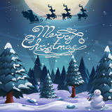 Santa flying in a sleigh with reindeer on a moon background. Merry Christmas and Happy New Year. Royalty Free Stock Photos