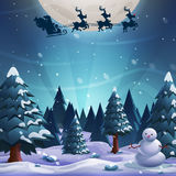 Santa flying in a sleigh with reindeer on a moon background. Merry Christmas and Happy New Year. royalty free illustration