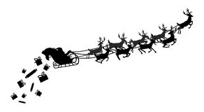 Santa flying in a sleigh with reindeer. Vector illustration. Isolated object. Black silhouette. Christmas. Royalty Free Stock Images