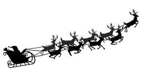 Santa flying in a sleigh with reindeer. Vector illustration. Isolated object. Black silhouette. Christmas. Stock Image
