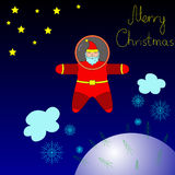 Santa is flying in space above the earth. On the earth it is snowing. Above the earth Santa astronaut is coming with Merry Christmas Stock Images