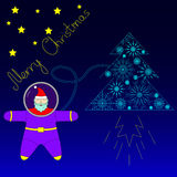 Santa is flying in space near his rocket tree. Santa astronaut flying to the stars in a spaceship in the form of a Christmas tree. Colored Royalty Free Stock Photography
