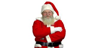 Santa with folded arms isolated. stock video footage