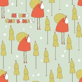 Santa in the forest Christmas seamless pattern. Stock Photos