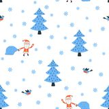 Santa in the forest seamless pattern vector. Santa and a bird in the winter forest. Seamless pattern vector illustration Stock Image