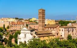Santa Francesca Romana Church en Roman Forum Fotos de archivo