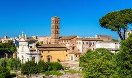 Santa Francesca Romana Church en Roman Forum Fotografía de archivo libre de regalías