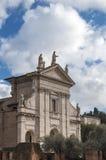 Santa Francesca Romana's travertine facade. Ancient Roman Church Santa Francesca Romana, which is situated near the Roman forum Stock Photos