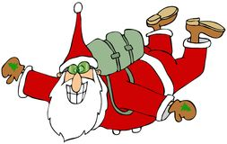 Santa in free fall Stock Photography