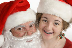 Santa And Friend Closeup Stock Images