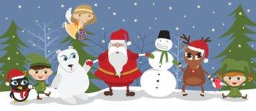 Santa and friends royalty free illustration
