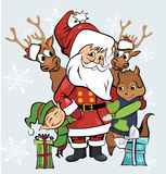 Santa with friends. Christmas illustration with santa, elf, deers and chipmunk Stock Image