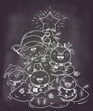 Santa and friends on christmas tree or happy christmas illustration vector royalty free stock photography