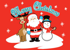 Santa and friends Merry Christmas. Royalty Free Stock Images