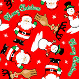Santa and friends merry christmas seamless pattern.  Stock Photo