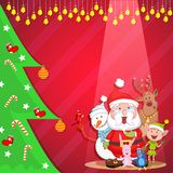 Santa with friends wishing Merry Christmas Royalty Free Stock Photography