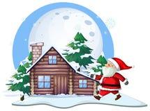 Santa in front of cabin house vector illustration