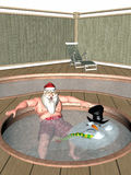 Santa and Frosty Hot Tub Stock Images