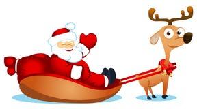 Santa with fun deer Royalty Free Stock Photo