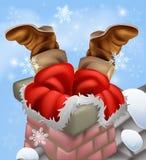 Santa furou em uma chaminé ilustração stock