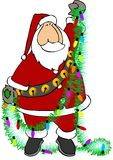 Santa with garland stock illustration