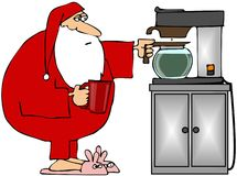 Santa Getting Coffee Stock Images