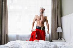 Santa getting ready for Christmas Royalty Free Stock Image
