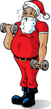 Santa getting in shape. Santa working out, lifting weights and getting in shape Stock Photography