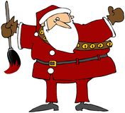 Santa With A Giant Paintbrush Royalty Free Stock Photography