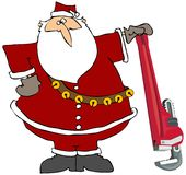 Santa With A Giant Pipe Wrench Stock Photo