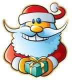 Santa with gift. Funny vector illustration stock illustration