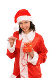 Santa with gift Stock Images